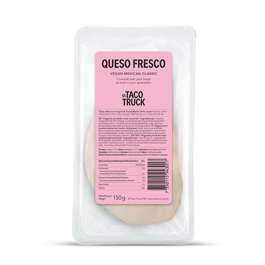 Förpackning med El Taco Truck's vegansk produkt med ostsmak. Vegan mexican classic.