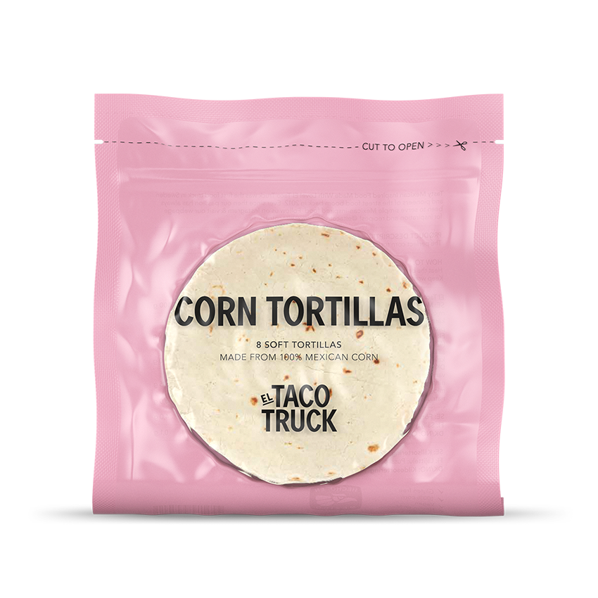 Förpackning med El Taco Truck's corn tortillas. 100% mexican corn.