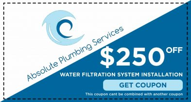 Save $250.00 with an Absolute Plumbing Water Filtration System Installation.