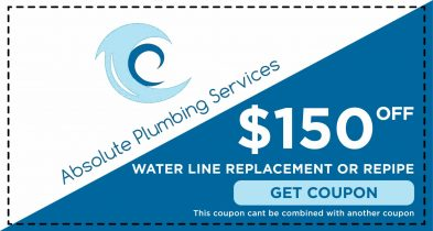 Receive $150.00 Off your water line replacement or re-pipe service only at Absolute Plumbing.