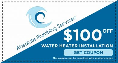 This $100.00 Off coupon can be used for your next water heater installation from Absolute Plumbing Services.