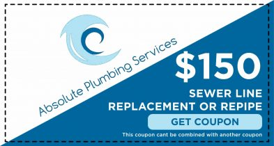 Receive $150.00 off your sewer line replacement or re-pipe from Absolute Plumbing Services.