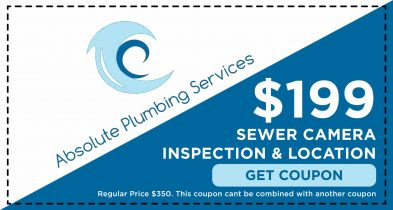 Save $199.00 on a Sewer Camera Inspection from Absolute Plumbing Services.