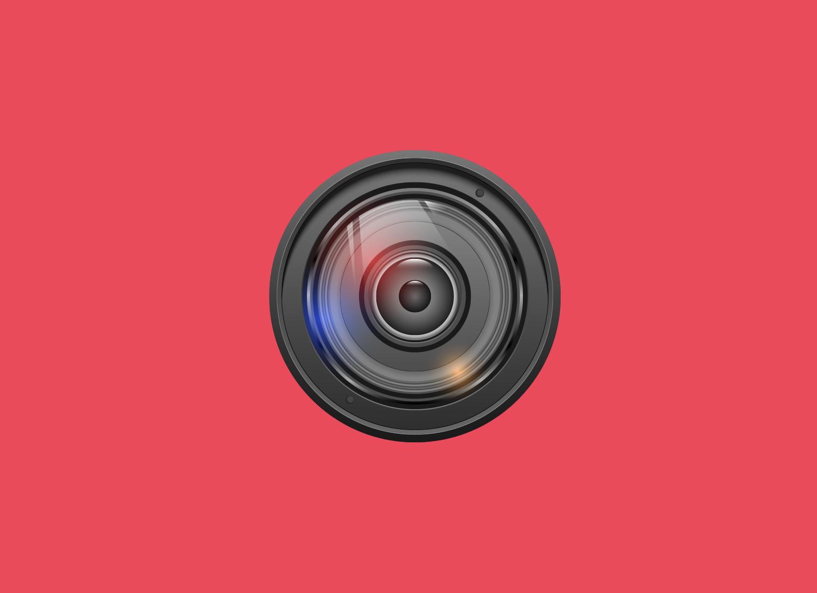 Illustrasjon av kameralinse på rød bakgrunn