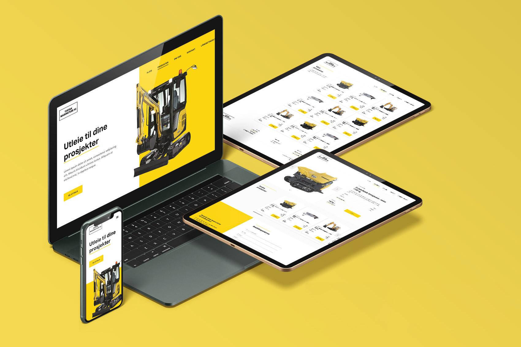 Tveitan Maskinutleie sin nettside i ulike formater, fra desktop til mobil