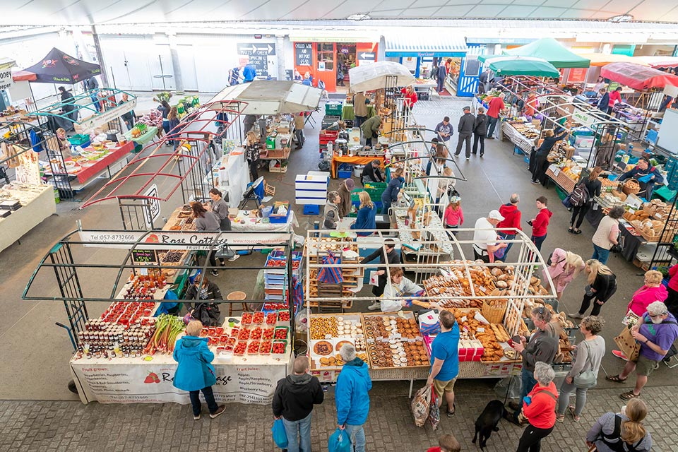Busy market stalls at local market