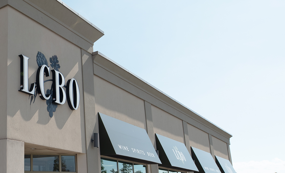 Exterior of LCBO store with blue sky in background