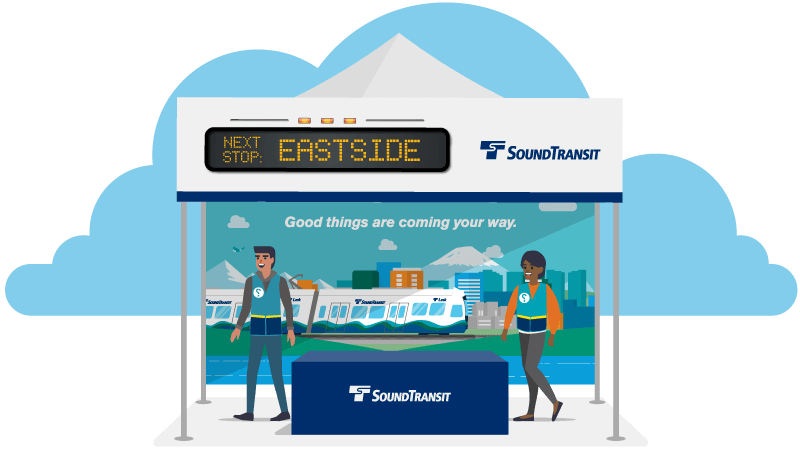 Illustration of two people at a booth for Sound Transit
