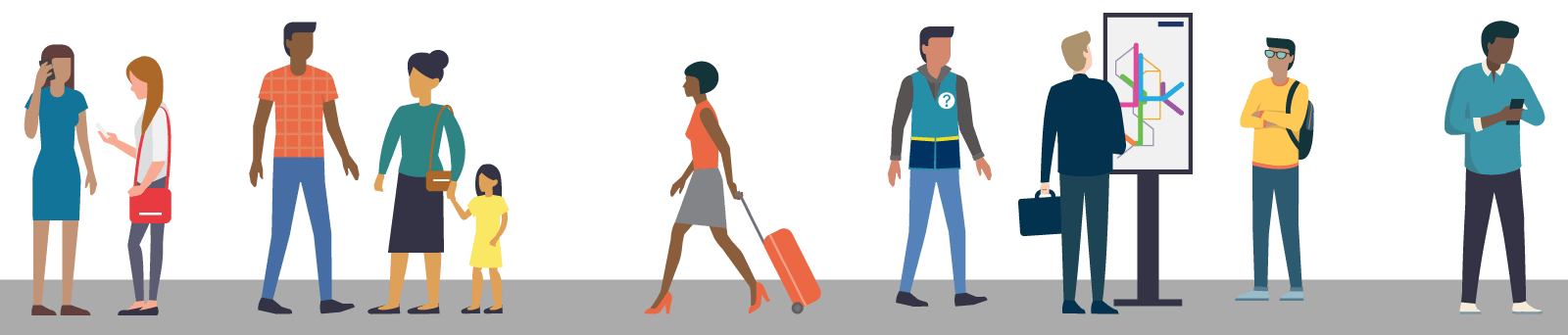 Illustration of people at a light rail station