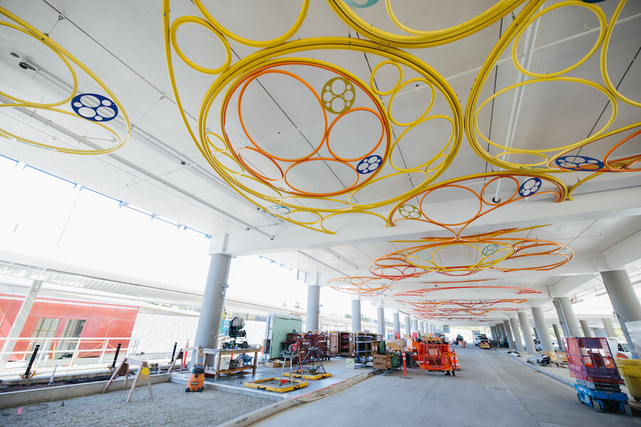 Sculpture by Kate Sweeney on the ceiling of the future Redmond Technology Station bus loop under the station garage.