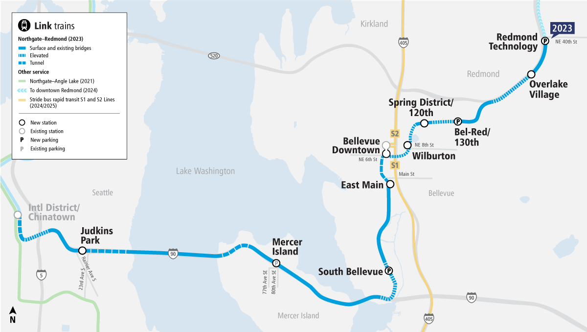Map of East Link Extension project area