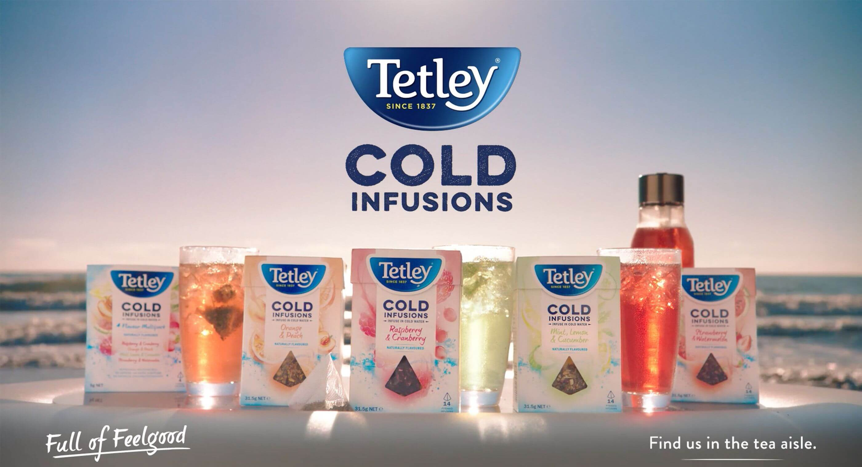 Tetley Cold Infusions. Line up of Tetley tea products.