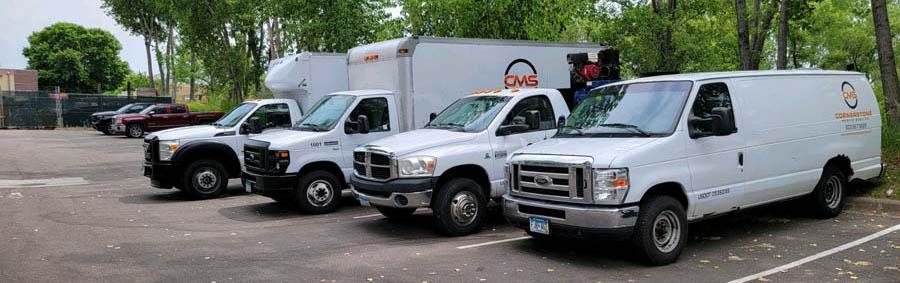 commercial fleet vehicles in line