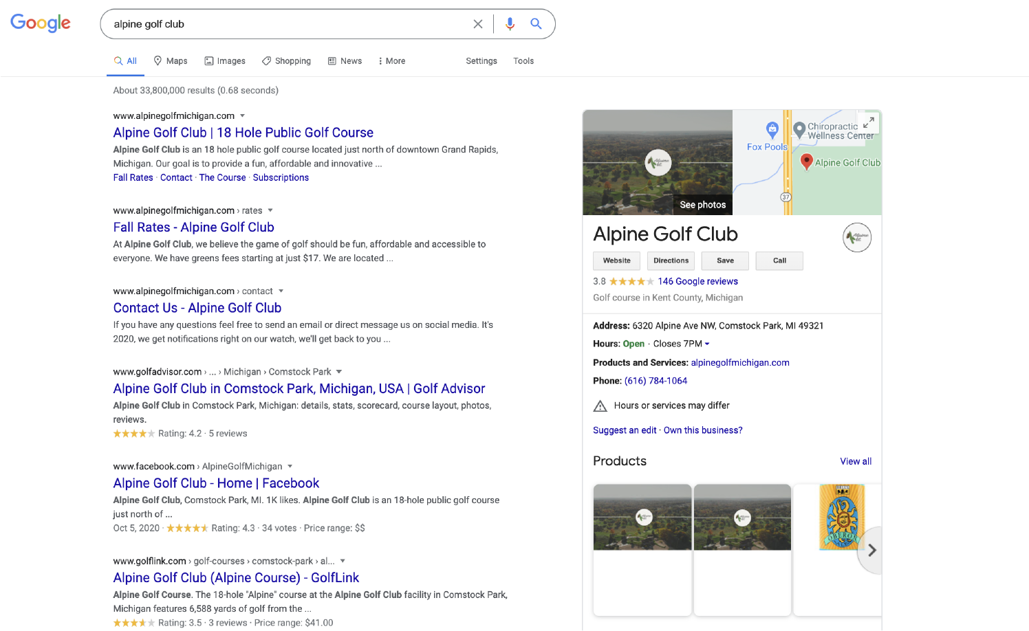 Alpine Golf Club Google My Business Profile