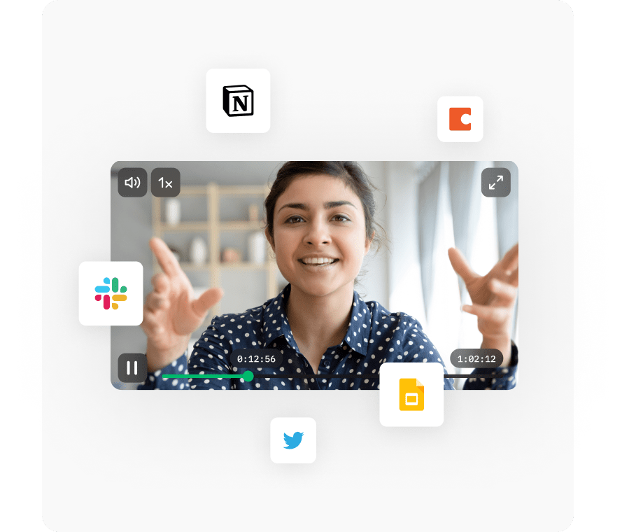 A highlight clip shared across multiple tools like Slack, Asana, Notion, and Coda