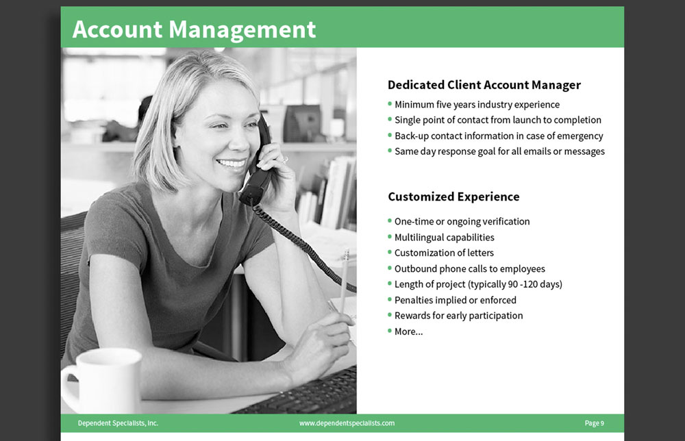 DSI Corporate Brochure Account Management Page