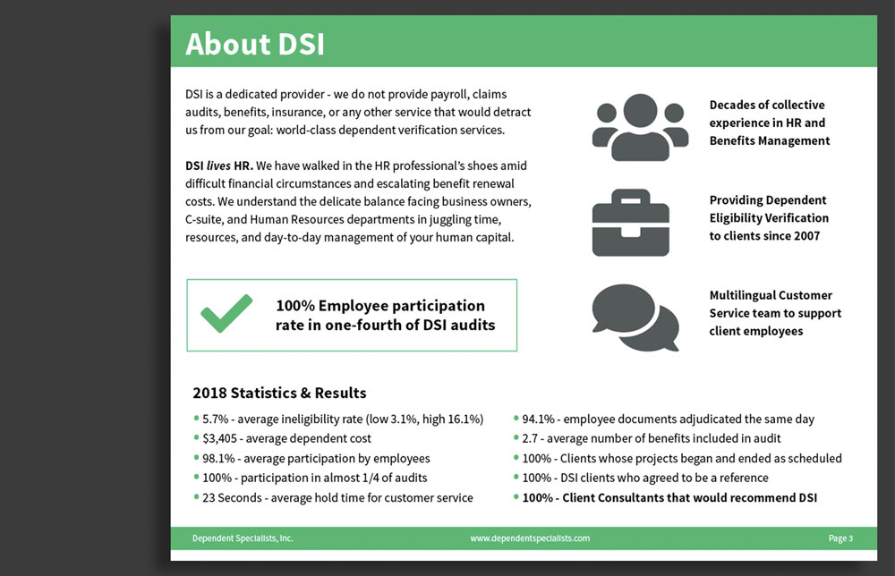 DSI Corporate Brochure About Page