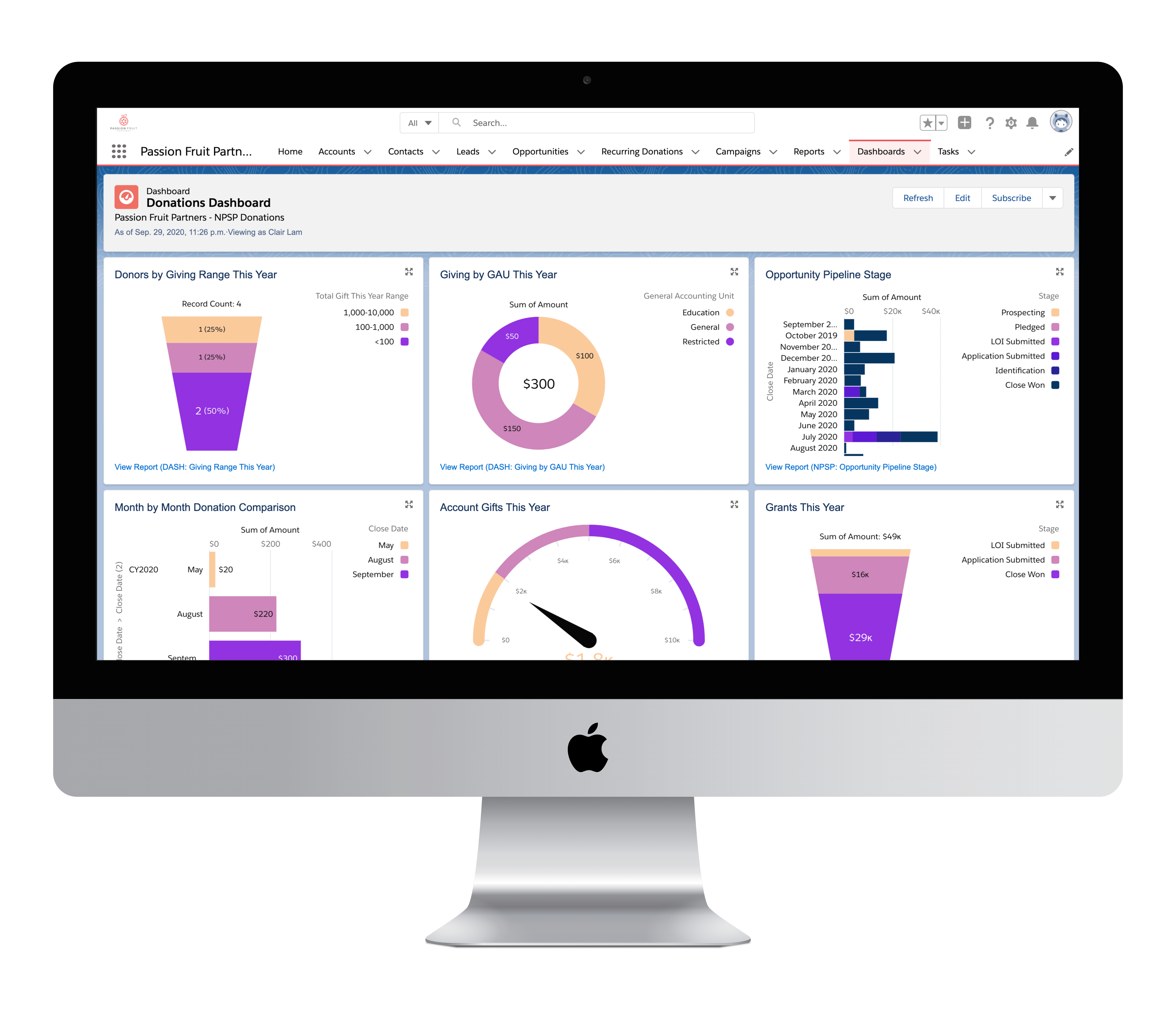 Passion Fruit Salesforce Dashboard