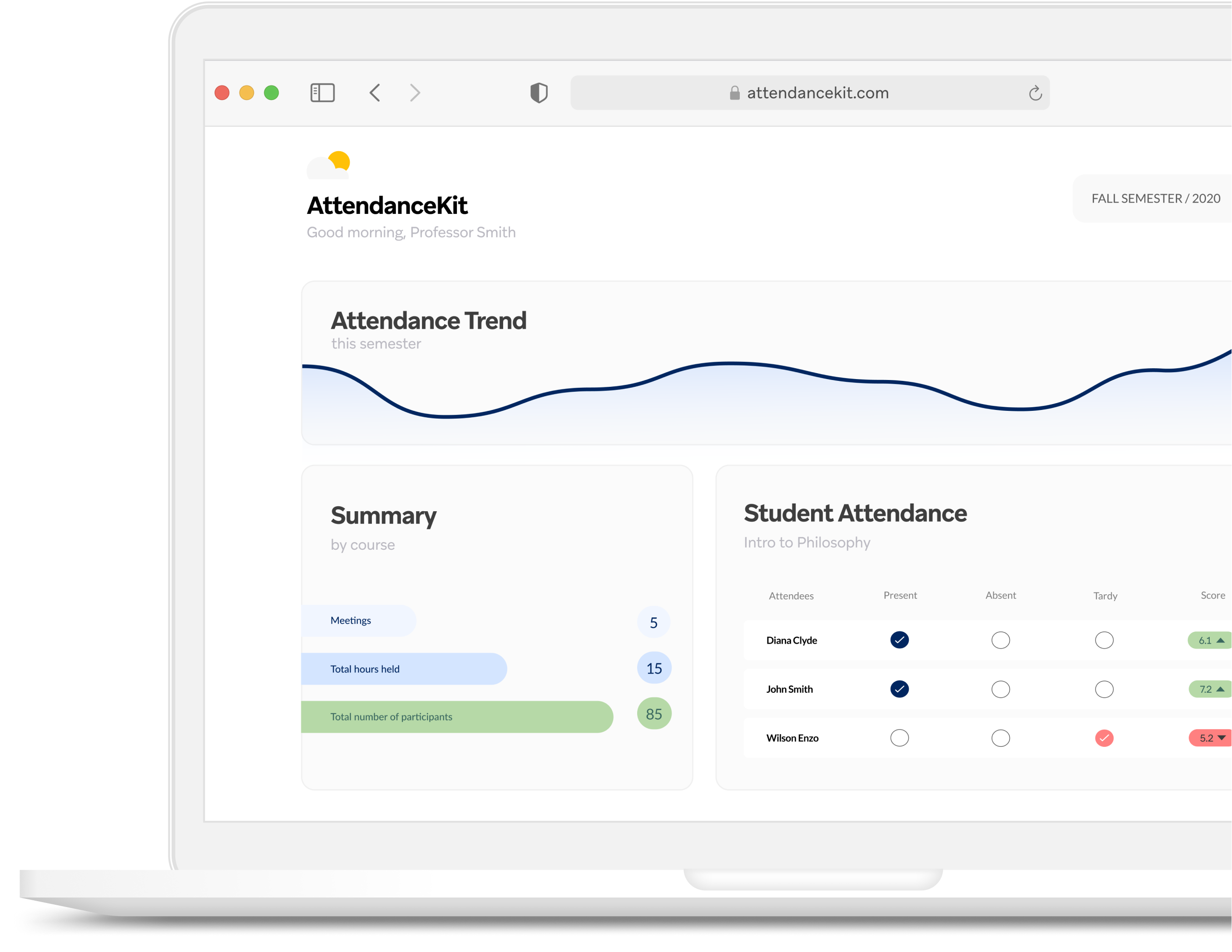 AttendanceKit for Zoom dashboard view with student data