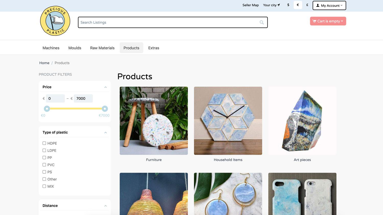 Precious Plastic bazar interface