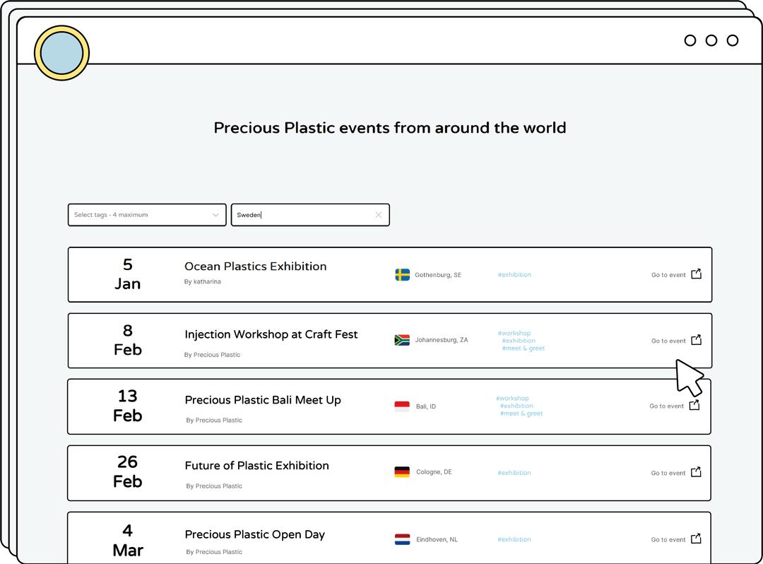 Precious Plastic events interface