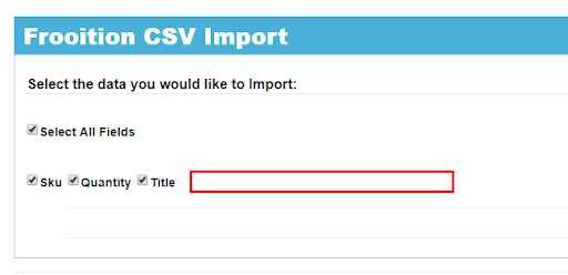 Screenshot of Frootion's feature to import eBay listing from a CSV.