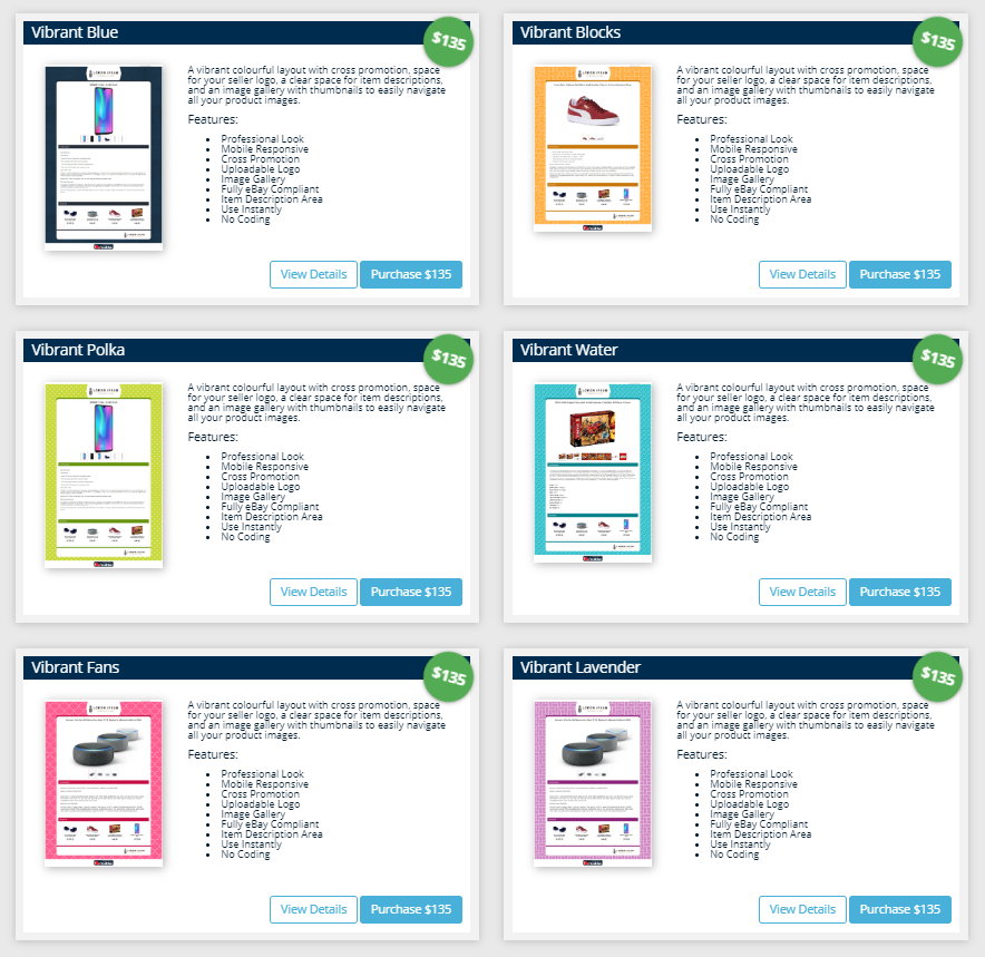 Screenshot of multiple Frooition eBay listing designer templates side by side to compare.
