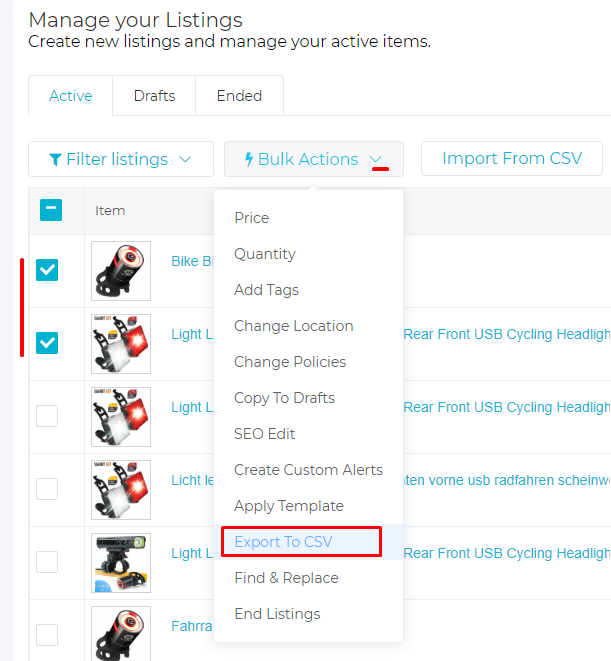 Screenshot of 3Dsellers' features to export eBay listings to a CSV.