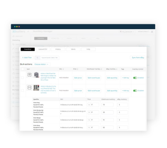 Showcase of 3Dsellers eBay Inventory Management features.