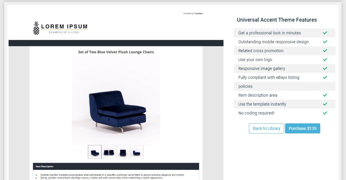 Screenshot of Frooition eBay listing designer templates.
