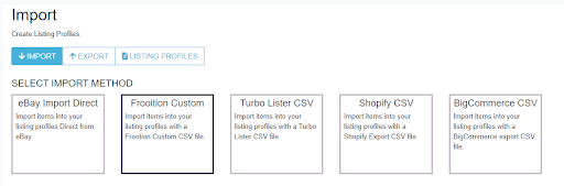 Screenshot of 3Dsellers' feature to import eBay listings with a CSV.