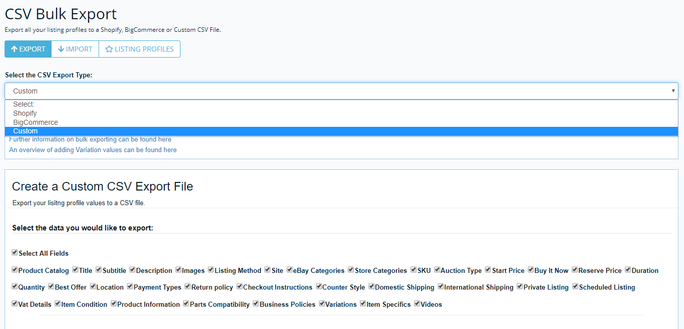 Screenshot of Frootion's feature to export eBay items to a CSV.