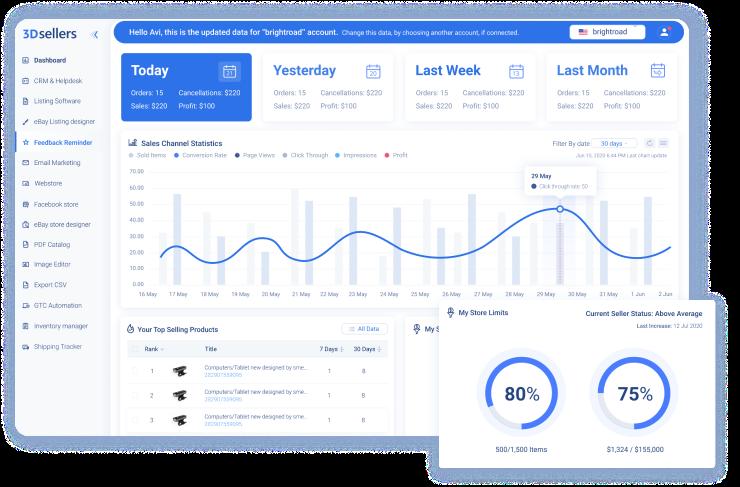 Auctiva and 3Dsellers platform websites side by side