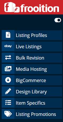 Screenshot of Frooition's sidebar menu.