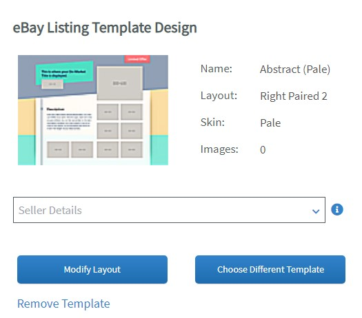 Setting to choose an eBay Listing Template Design while editing a listing on Auctiva