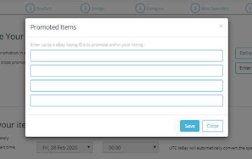 Screenshot of Frootion's static link eBay cross-promotion settings.