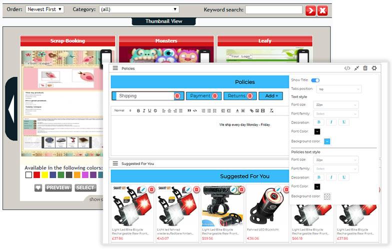 Sitios web de la plataforma Auctiva y 3Dsellers uno al lado del otro