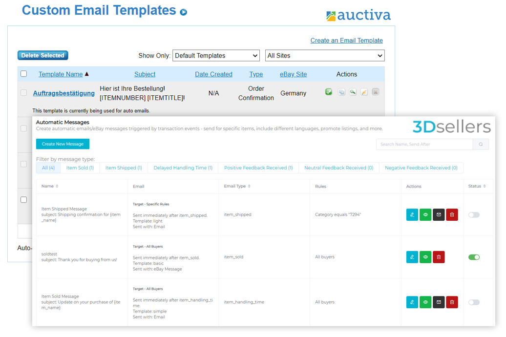 Auctiva and 3Dsellers eBay email marketing messages side by side