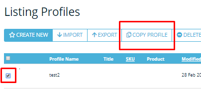 Screenshot of Frootion's feature to duplicate a Listing Profile.