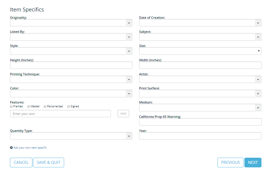 Screenshot of Frootion's Listing Profile editor.