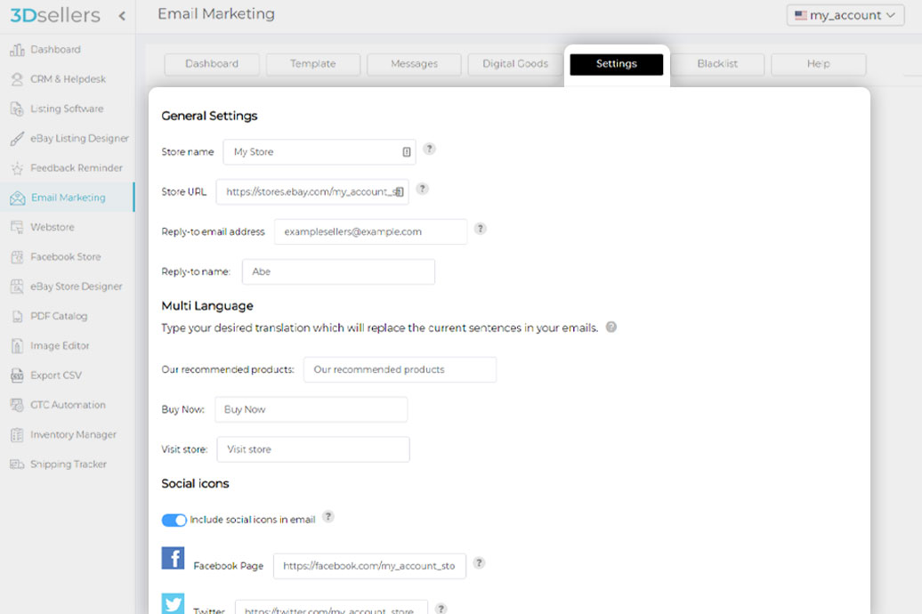 3Dsellers eBay Email Marketing settings tab