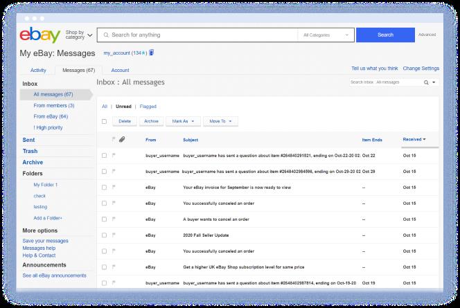 eBay Messaging Inbox