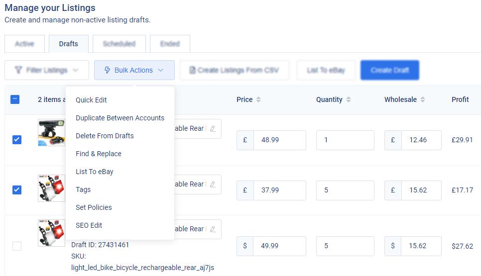 3Dsellers eBay स्वचालित ईमेल भेजने की घटनाओं की सूची