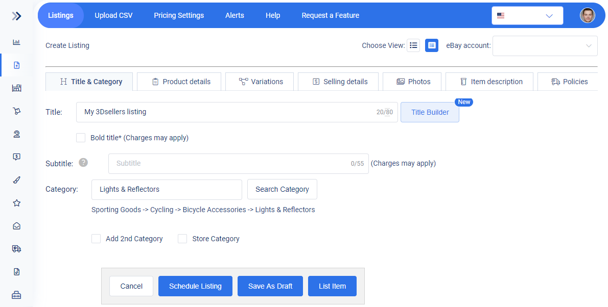 3Dsellers SEO settings for metadata tags and eBay mobile description