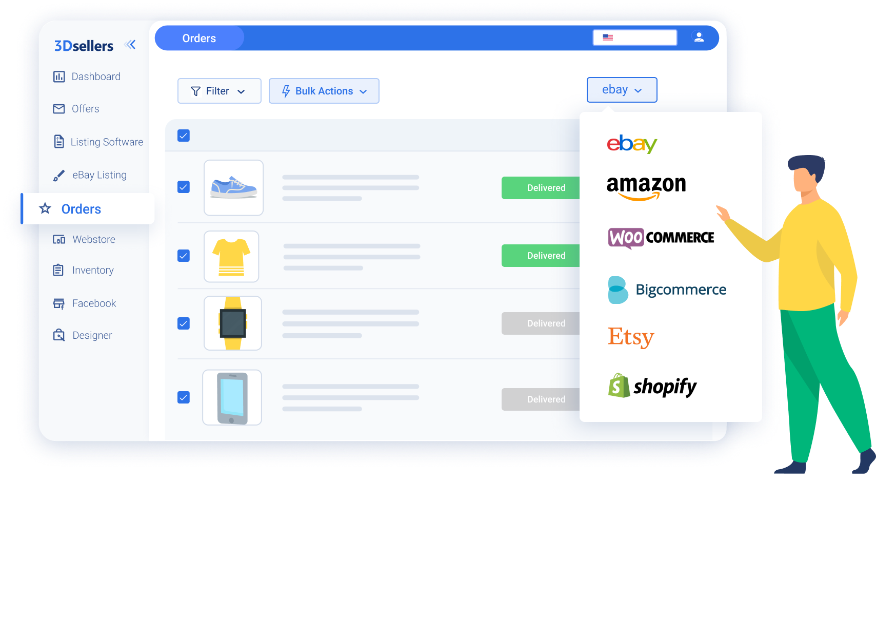 eCommerce seller showcasing the multichannel marketplaces he uses 3Dsellers to manage multichannel orders from Amazon, eBay, WooCommerce, Etsy, Shopify, email, and more.