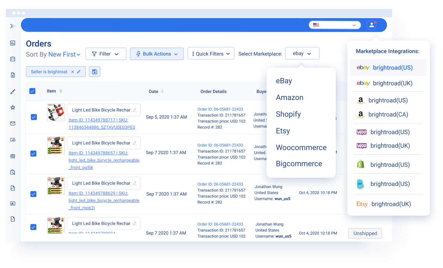 Showcased screenshot of 3Dsellers' Multichannel Orders Manager for Amazon, eBay, WooCommerce, Etsy, Shopify, email, and more.