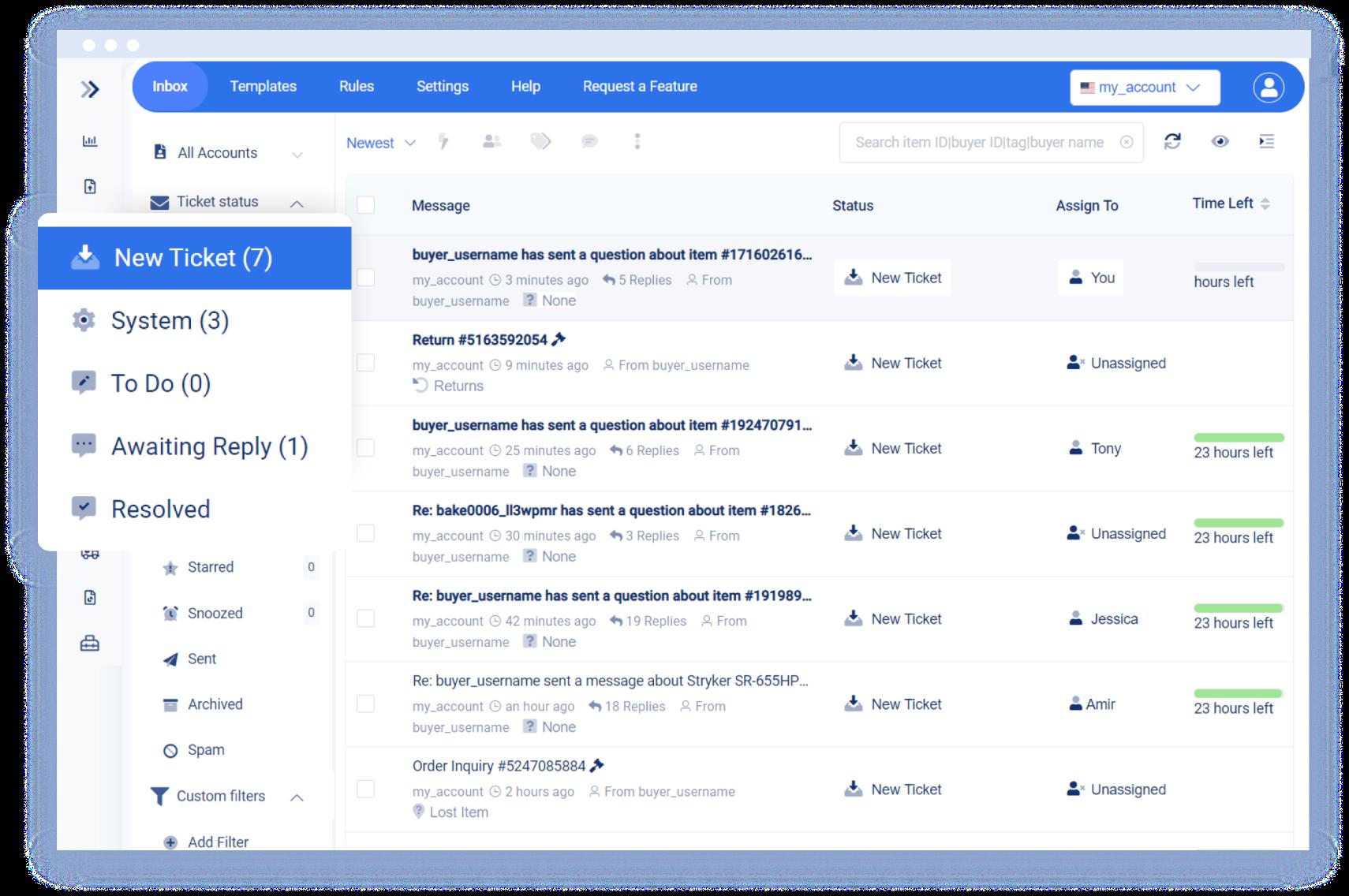 Screenshot 3Dsellers' Multichannel helpdesk eBay CRM inbox.