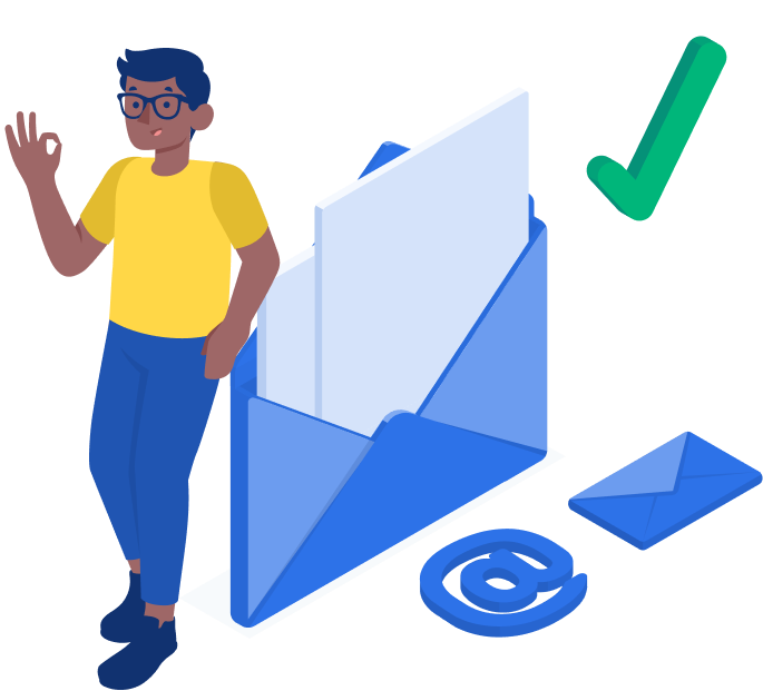 Man in glasses leaning on envelope that depicts email with his hand as OK sign with green check mark