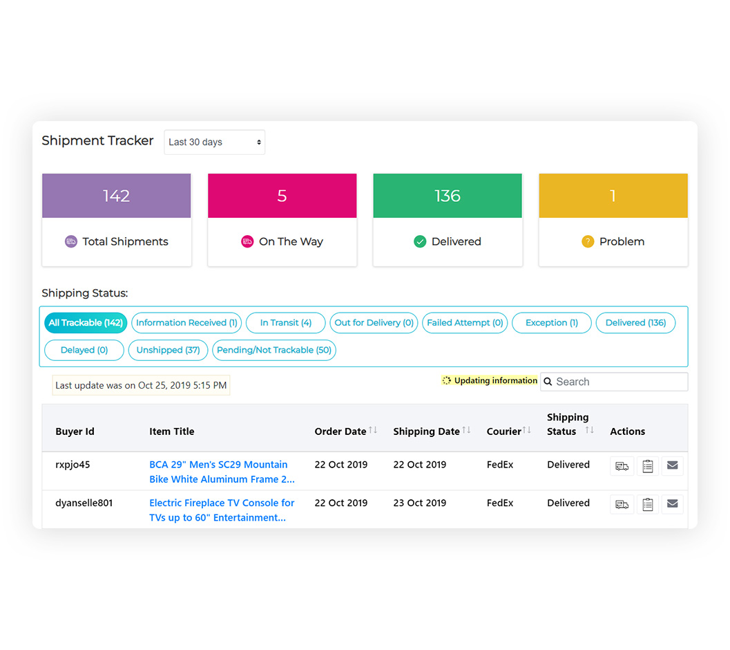 Screenshot of eBay Shipping Tracker dashboard with order history and statistic filters.