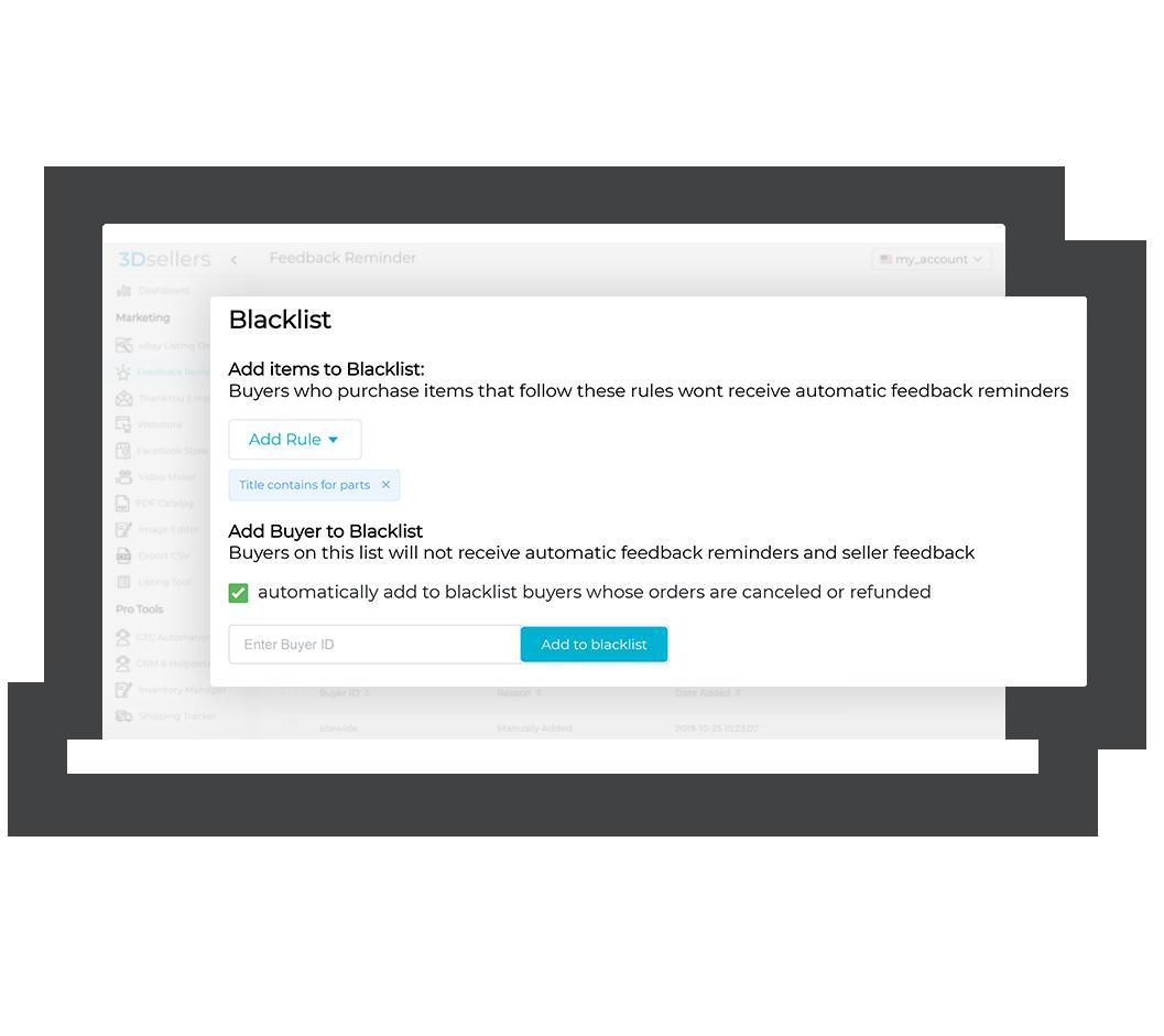 Showcased screenshot of eBay Feedback Reminder's feedback-boosting features.